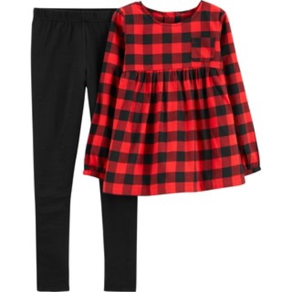 Carter's Other - Carter's Red & Black Buffalo Check Top & Leggings